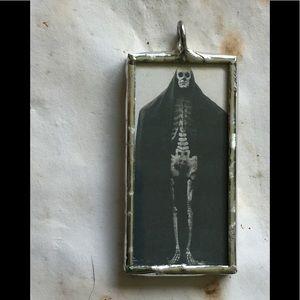 Jewelry - Death goth Victorian skeleton glass pendant